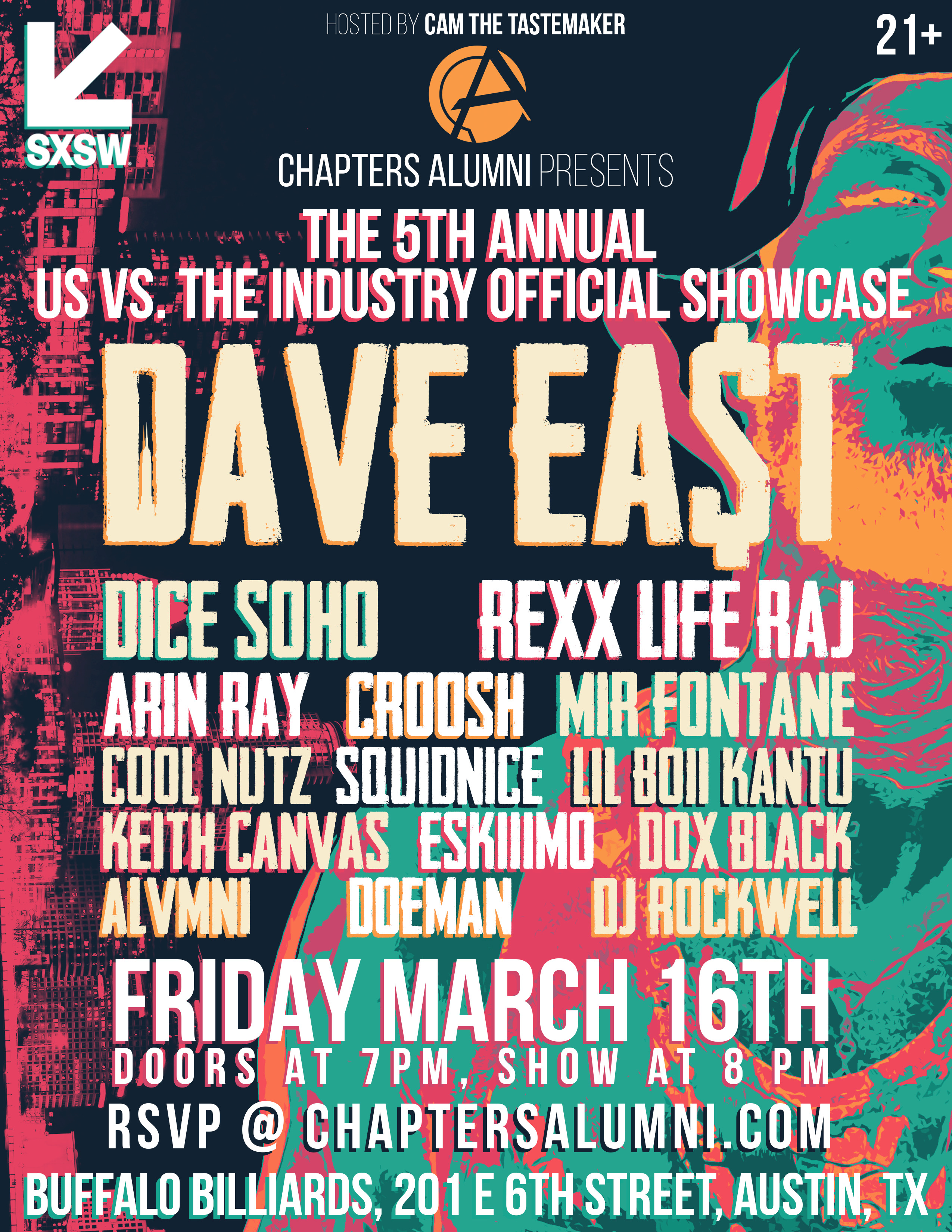 Chapters Alumni Announce Their 5th Annual 'Us vs The Industry' SXSW Showcase feat. Dave East, Dice SoHo, Squidnice & More!