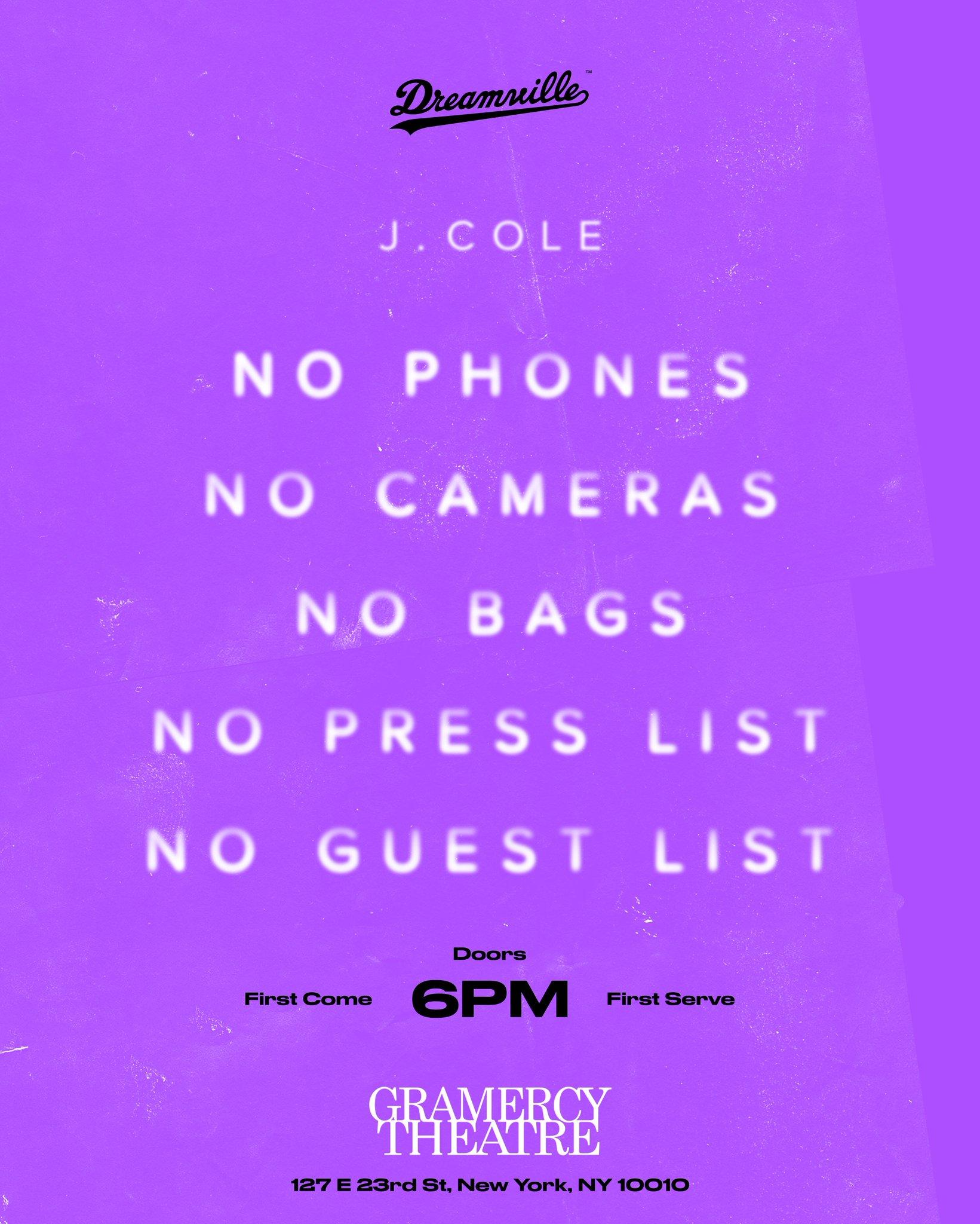 J. Cole Announces Surprise Show In New York City