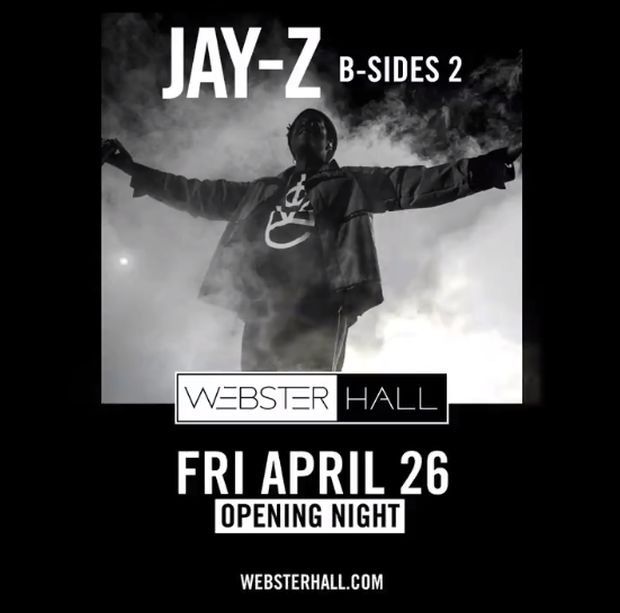 Jay-Z Announces 'B-Side 2' Concert In Honor of Webster Hall Reopening